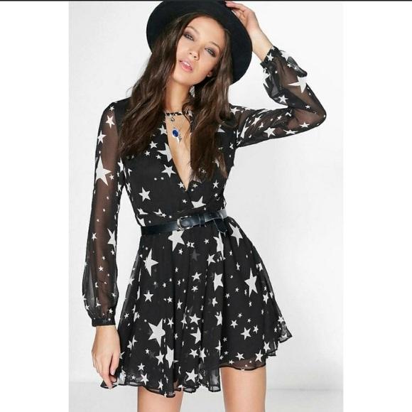 39bdecee9395 Boohoo Dresses | Stela Star Print Wrap Skater Dress | Poshmark